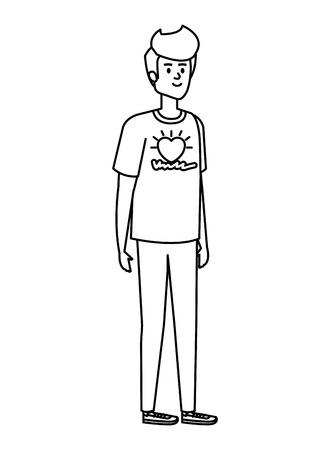 young man volunteer character vector illustration design Ilustração