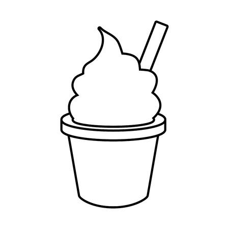 ice cream in cup fast food white background vector illustration