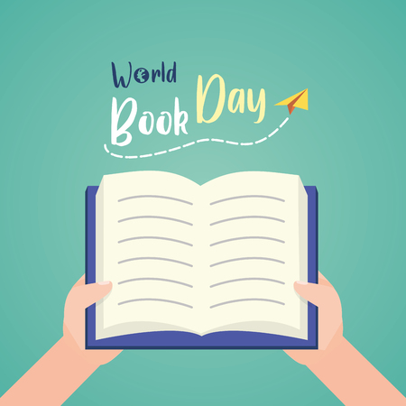 hands with open book - world book day vector illustration