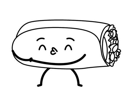 kawaii burrito fast food cartoon vector illustration
