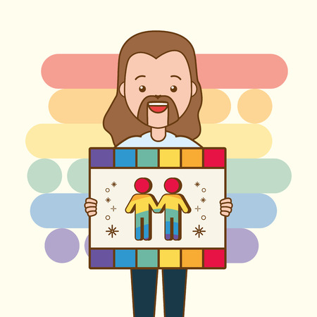 guy with board lgbt pride vector illustration Illusztráció