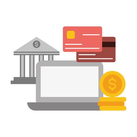 computer bank cards money online payment vector illustration Illustration