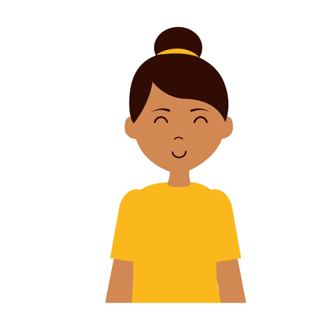 portrait woman character on white background vector illustration Banque d'images - 123093256