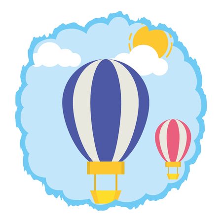 hot air balloons sky clouds vector illustration