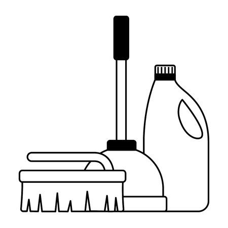 plunger brush detergent spring cleaning tool vector illustration Illustration