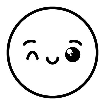 kawaii emoji cartoon face expression vector illustration vector illustration Illustration