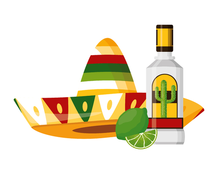 mexican hat traditional tequila hat vector illustration