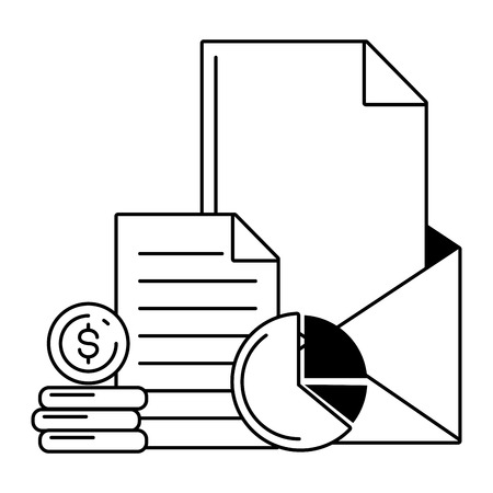 mail money coins report online payment vector illustration