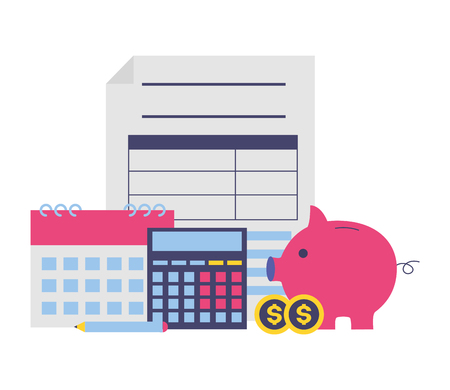 tax payment document piggy bank money coins calendar calculator vector illustration