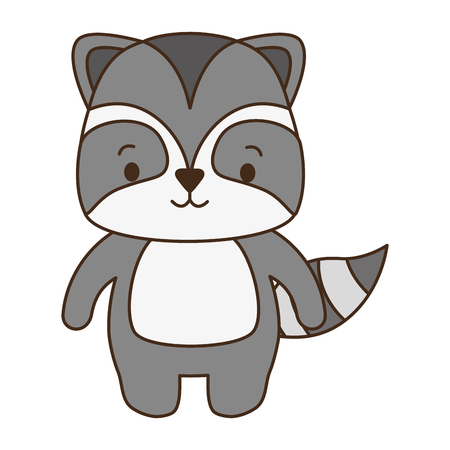 cute raccoon animal cartoon vector illustration design 向量圖像