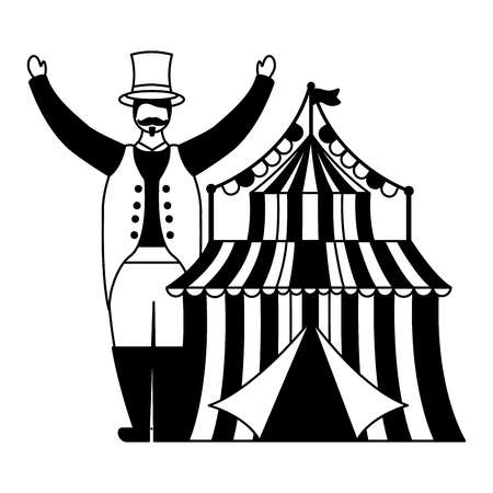 character circus carnival tent entertainment vector illustration design