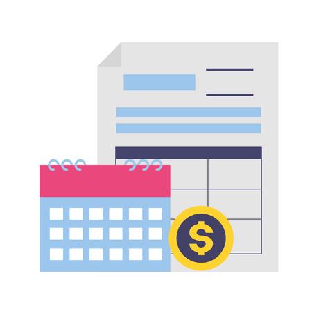 Document de paiement d'impôt calendrier argent pièce vector illustration