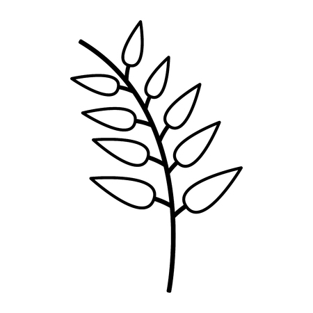 branch leaves nature icon white background vector illustration Illusztráció