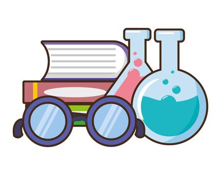 school science glasses books test tubes lab vector illustration design Ilustrace