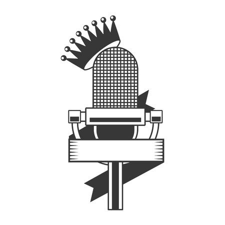 microphone sound retro icon on white background vector illustration Çizim