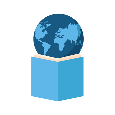 open book with planet earth icon vector illustration design