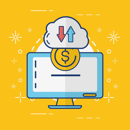 computer cloud storage money transfer online payment vector illustration Banque d'images - 123094717