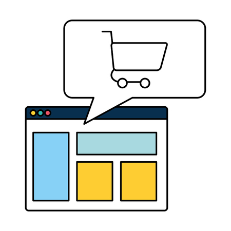 online shopping cart website message vector illustration