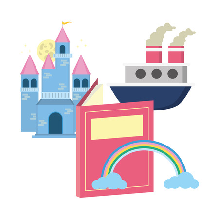 castle boat rainbow textbook world book day  イラスト・ベクター素材