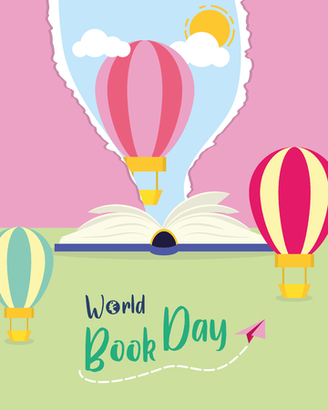 textbook air balloon sky lettering - world book day vector illustration Illustration