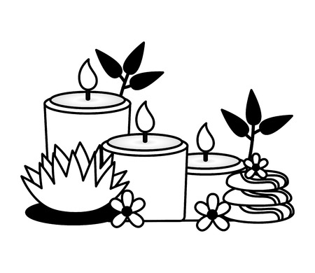 candles stones flowers spa treatment therapy vector illustration  イラスト・ベクター素材