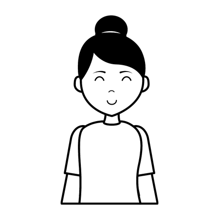 portrait woman character on white background vector illustration Banque d'images - 123094801