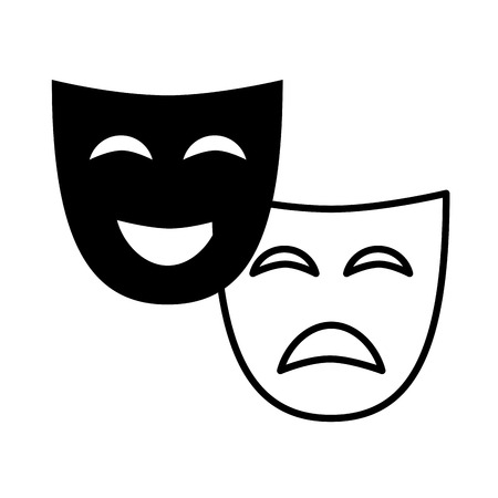 theater mask comedy drama white background vector illustration design