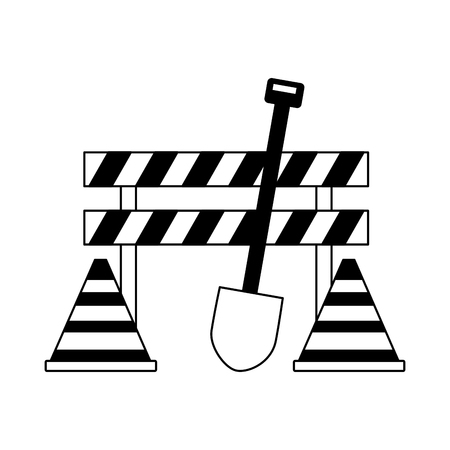 construction equipment shovel barrier cone icons vector illustration