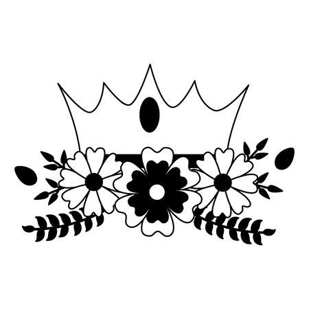 crown luxury flowers on white background vector illustration 일러스트
