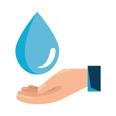 hand with water drop vector illustration design Illustration