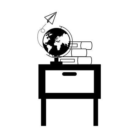 desk school globe books teachers day card vector illustration