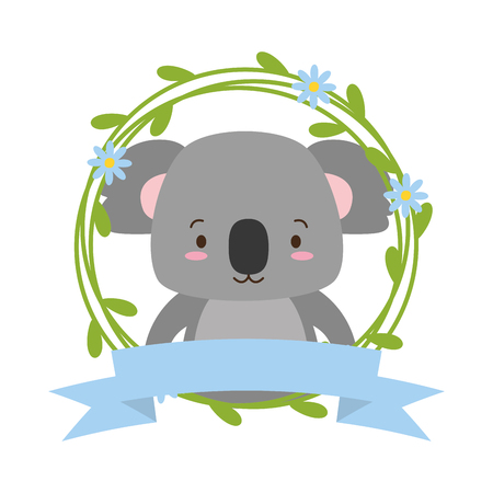 cute koala cartoon sticker flowers vector illustration design