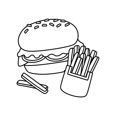 burger and french fries on white background vector illustration