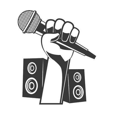 hand with microphone speakers karaoke musical vector illustration  イラスト・ベクター素材