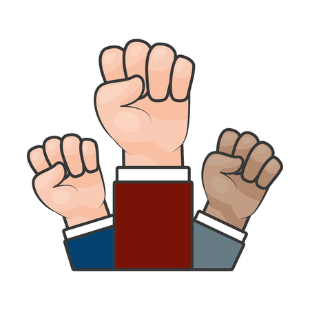 raised hands strong on white background vector illustration