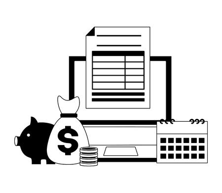laptop money bag piggy bank calendar form tax payment vector illustration