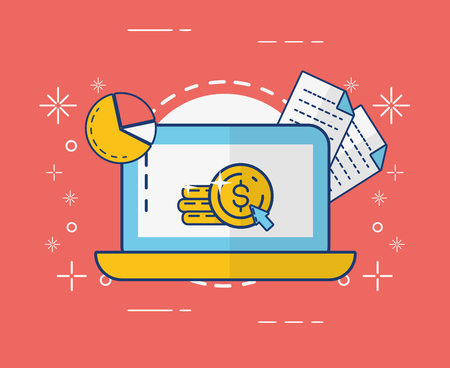 laptop money document report online payment vector illustration 스톡 콘텐츠 - 123095001