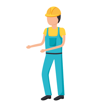 construction worker in overall uniform vector illustration  イラスト・ベクター素材