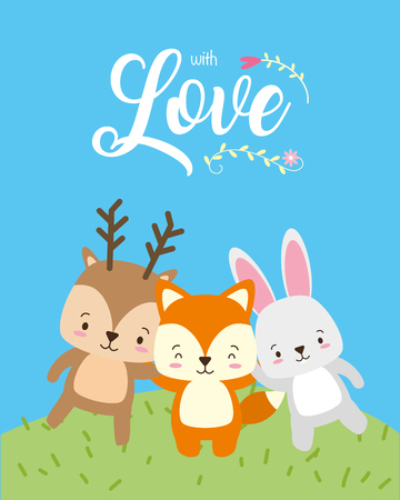cute animals with love card vector illustration