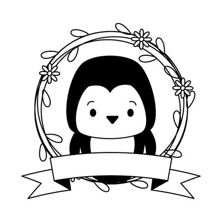 cute penguin sticker cartoon flowers vector illustration design Illustration