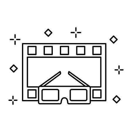 cinema glasses and movie tape isolated icon vector illustration design Illustration