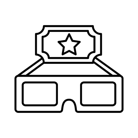 cinema glasses and ticket isolated icon vector illustration design