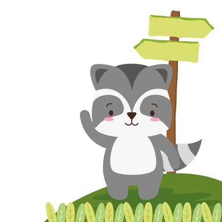 cute raccoon landscape cartoon vector illustration design image Ilustração