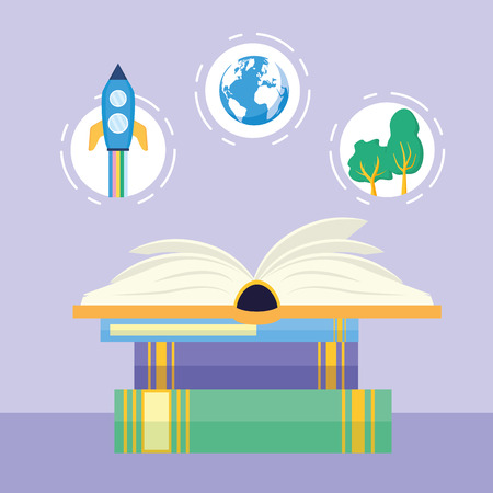 world book day textbooks stacked vector illustration