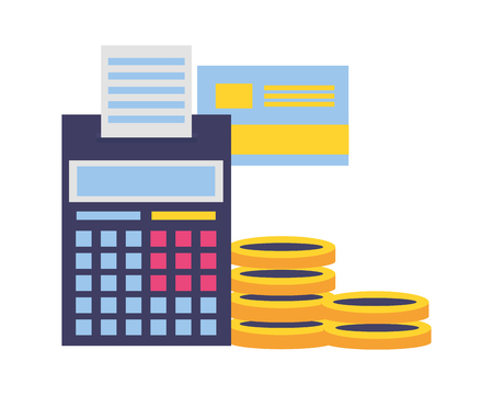 calculator bank card coisn money tax payment vector illustration