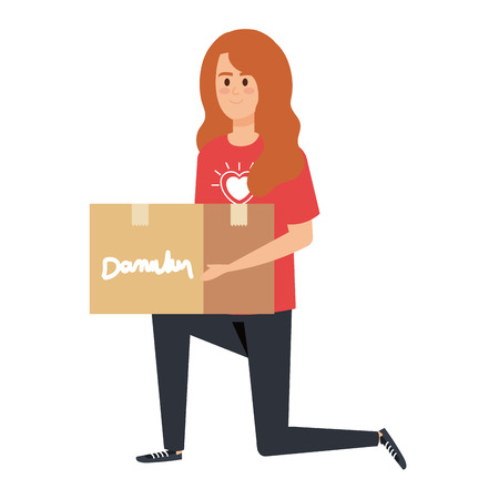 young woman volunteer lifting donations box vector illustration design