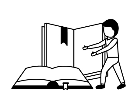 man student with books learning vector illustration Stock Vector - 123095124
