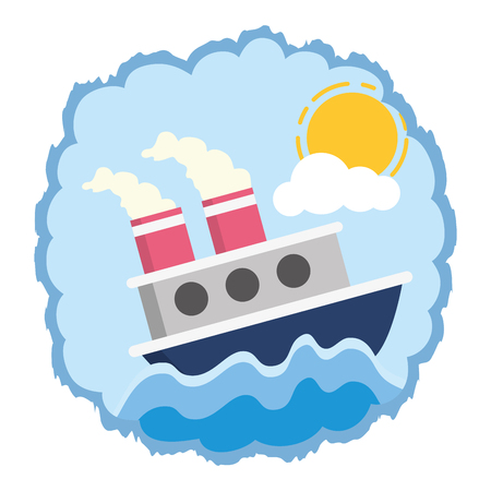 boat sea transport cartoon vector illustration design Ilustracja