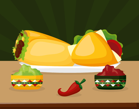 taco burrito guacamole mexico cinco de mayo vector illustration