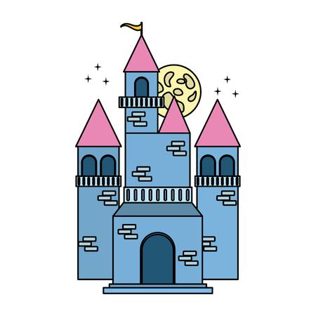 fairy blue castle on white background vector illustration